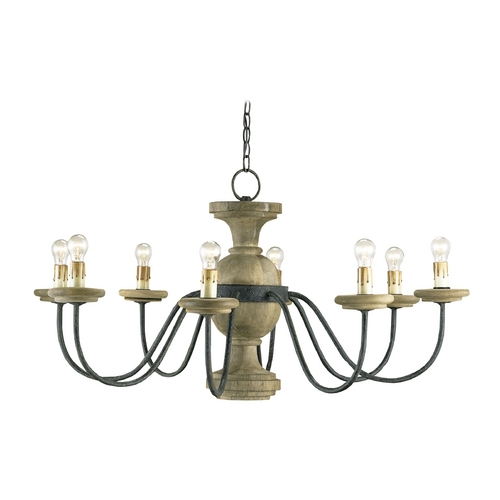 Currey and Company Lighting Chandelier in Mole Black/natural Finish 9766
