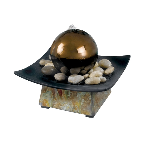Kenroy Home Lighting Indoor Fountain in Natural Green Slate Finish, Stainless Steel Ball Finish 50235SL