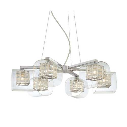 George Kovacs Lighting Six-Light Chandelier with Woven Metal Shades P806-077