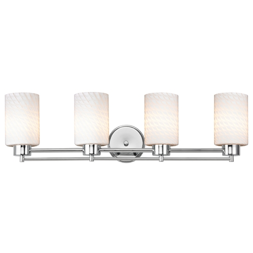 Design Classics Lighting Modern Bathroom Light with White Glass in Chrome Finish 704-26 GL1020C