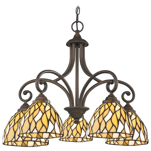 Design Classics Lighting Chandelier with Multi-Color Glass in Neuvelle Bronze Finish 717-220 GL1036