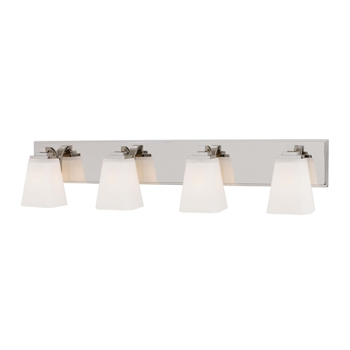 Minka Lavery Bathroom Light with White Glass in Polished Nickel Finish 4544-613