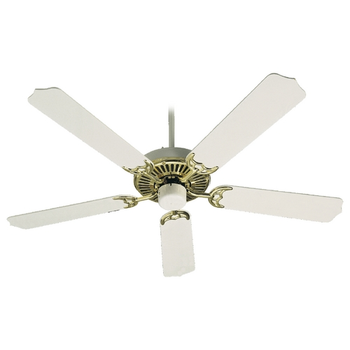 Quorum Lighting Quorum Lighting Capri I Polished Brass with White Ceiling Fan Without Light 77525-26