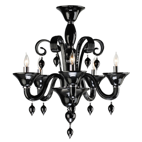 Cyan Design Cyan Design Treviso Chrome with Black Chandelier 6494-5-14