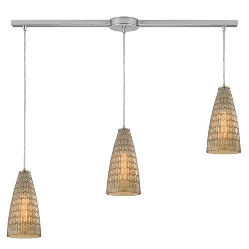 Elk Lighting Elk Lighting Mickley Satin Nickel Multi-Light Pendant with Conical Shade 10249/3L