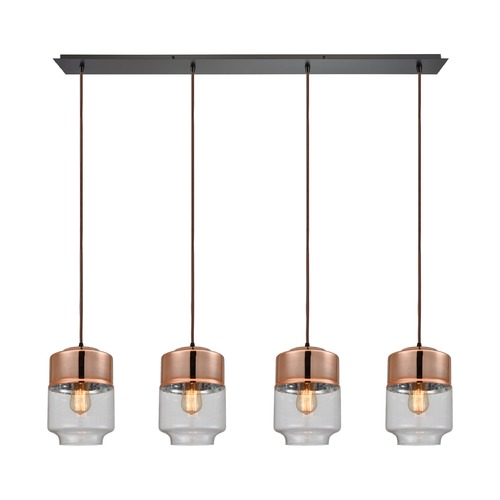 Elk Lighting Elk Lighting Revelo Oil Rubbed Bronze Multi-Light Pendant with Drum Shade 10491/4LP