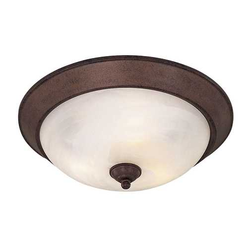Minka Lavery Flushmount Light with White Glass in Antique Bronze Finish 893-91