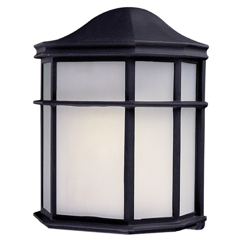 Minka Lavery Outdoor Wall Light with White Glass in Black Finish 9920-66-PL