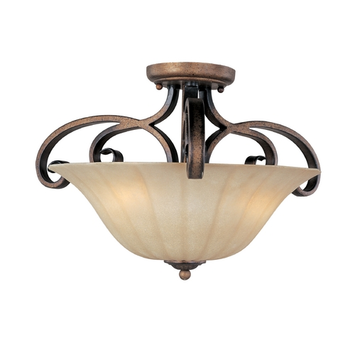 Maxim Lighting Semi-Flushmount Light with Beige / Cream Glass in Platinum Dusk Finish 22241WSPD