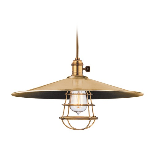 Hudson Valley Lighting Heirloom Aged Brass Pendant Light with Coolie Shade 8002-AGB-ML1-WG
