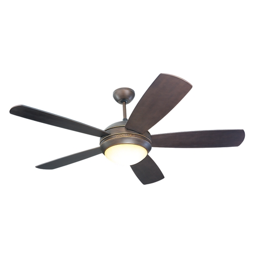 Monte Carlo Fans Modern Ceiling Fan with Light with Opal Glass Fan Light Kit 5DI52RBD-L