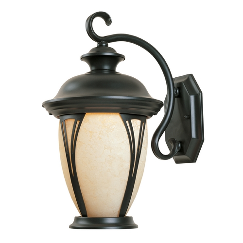 Designers Fountain Lighting Outdoor Wall Light with Amber Glass in Bronze Finish 30531-AM-BZ