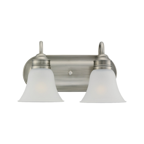 Sea Gull Lighting Bathroom Light with White Glass in Antique Brushed Nickel Finish 44851-965