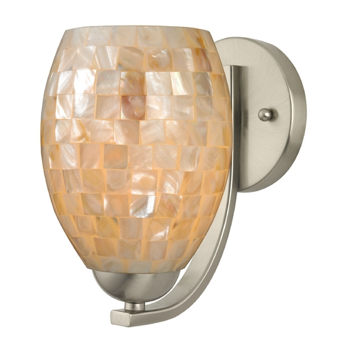 Design Classics Lighting Sconce with Mosaic Glass in Satin Nickel Finish 585-09 GL1034