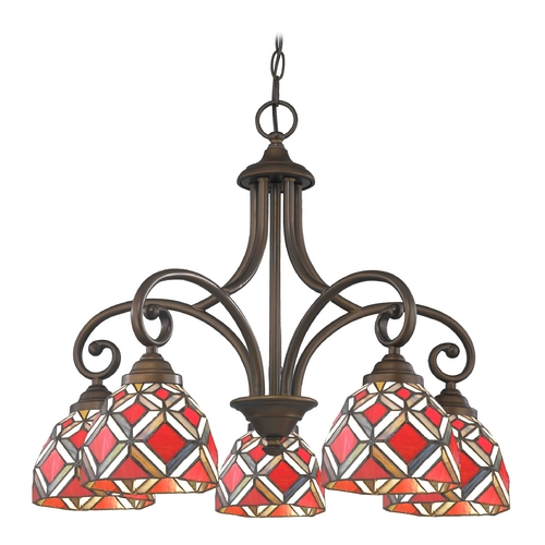 Design Classics Lighting Chandelier with Multi-Color Glass in Neuvelle Bronze Finish 717-220 GL1035