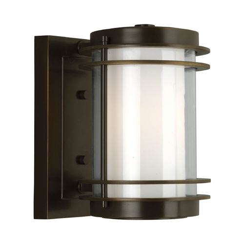 Progress Lighting Progress Modern Oil Rubbed Bronze Outdoor Wall Light with White Glass P5895-108