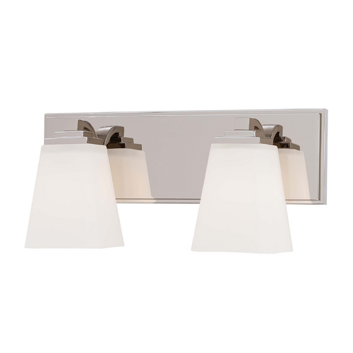 Minka Lavery Bathroom Light with White Glass in Polished Nickel Finish 4542-613