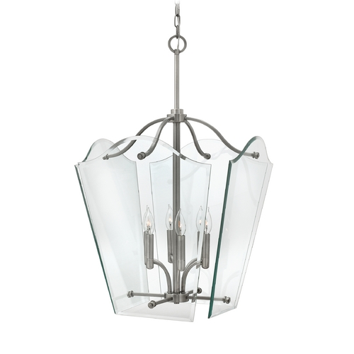 Hinkley Lighting Modern Pendant Light with Clear Glass in Polished Antique Nickel Finish 3008PL