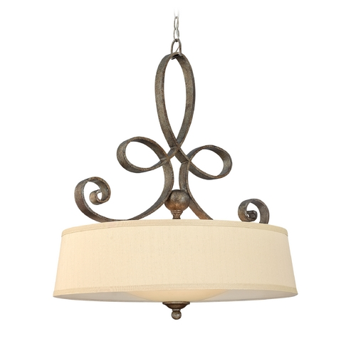 Frederick Ramond Drum Pendant Light with Gold Shade in Brushed Merlot Finish FR42504BME