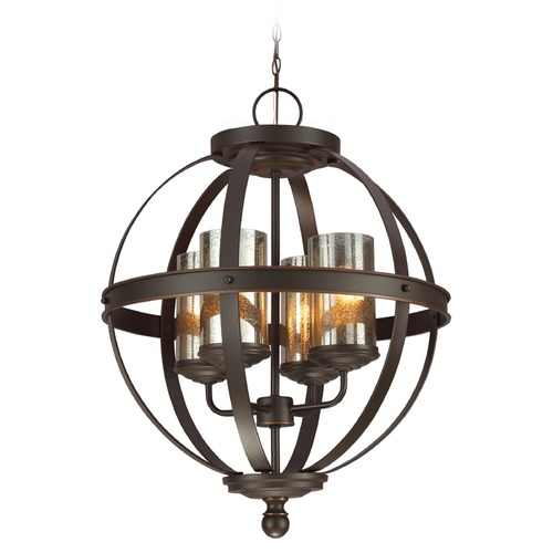 Sea Gull Lighting Mercury Glass Mini-Chandelier Bronze Sea Gull Lighting 3110404-715