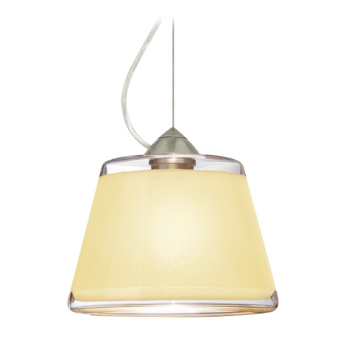 Besa Lighting Besa Lighting Pica Satin Nickel LED Pendant Light with Empire Shade 1KX-PIC9CR-LED-SN