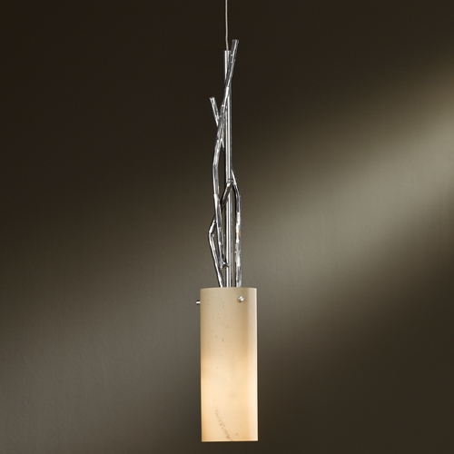 Hubbardton Forge Lighting Hubbardton Forge Lighting Brindille Vintage Platinum Mini-Pendant Light with Cylindrical Shade 161080-82-H336