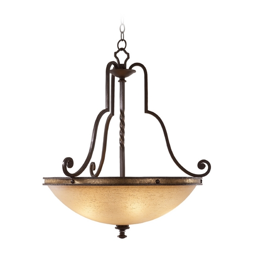 Kalco Lighting Kalco Lighting Durango Tawny Port Pendant Light with Bowl / Dome Shade 6107TP-2/LINEN