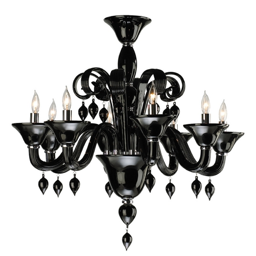 Cyan Design Cyan Design Treviso Chrome with Black Chandelier 6494-8-14