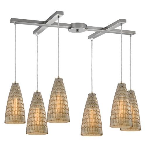 Elk Lighting Elk Lighting Mickley Satin Nickel Multi-Light Pendant with Conical Shade 10249/6