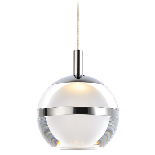 ET2 Lighting ET2 Swank Polished Chrome LED Mini-Pendant Light with Globe Shade E24591-93PC