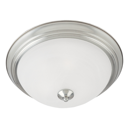 Maxim Lighting Flushmount Light with White Glass in Satin Nickel Finish 5841MRSN