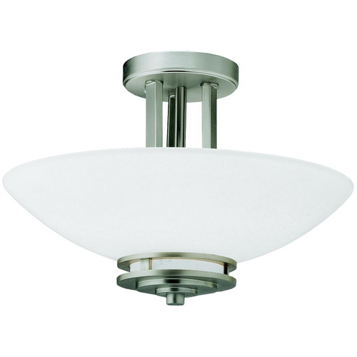 Kichler Lighting Kichler Brushed Nickel Semi-Flushmount Ceiling Light with White Glass 3674NI