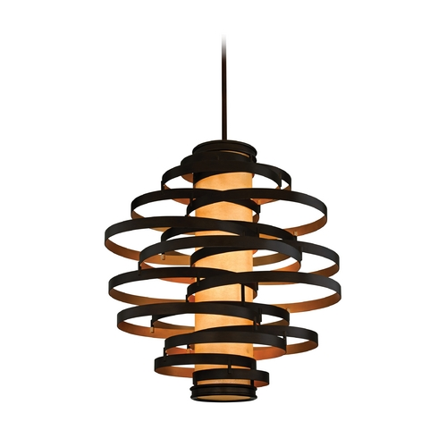 Corbett Lighting Modern Pendant Light in Bronze / Gold Leaf Finish 113-76-F