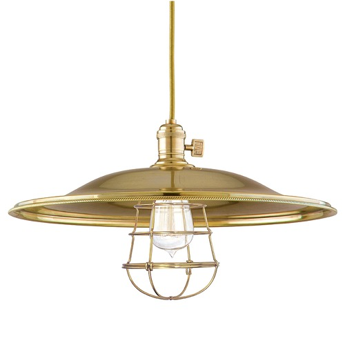Hudson Valley Lighting Heirloom Aged Brass Pendant Light with Bowl Shade 8002-AGB-ML2-WG