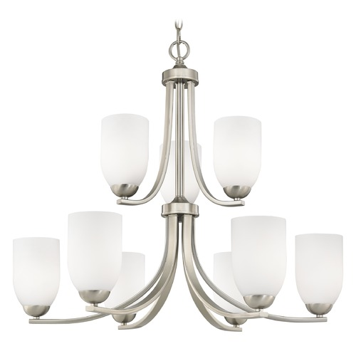 Design Classics Lighting Satin Nickel Chandelier with Satin White Glass Shades 586-09 GL1028D