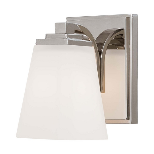 Minka Lavery Sconce Wall Light with White Glass in Polished Nickel Finish 4541-613