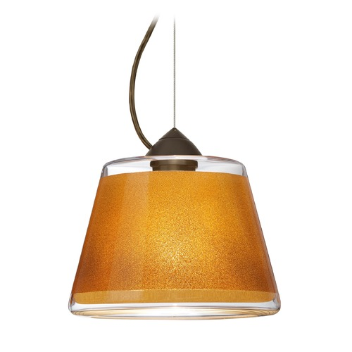 Besa Lighting Besa Lighting Pica Bronze LED Pendant Light with Empire Shade 1KX-PIC9GD-LED-BR