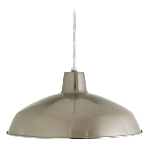 Progress Lighting Progress Lighting Metal Shade Brushed Nickel LED Pendant Light with Bowl / Dome Shade P5094-0930K9