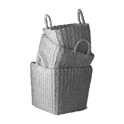 Dimond Lighting Nested Recycled Twisted Silver Foil Baskets- Set Of 3 784018