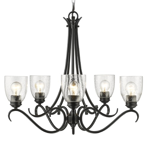 Golden Lighting Seeded Glass Chandelier Black Golden Lighting 8001-5 BLK-SD