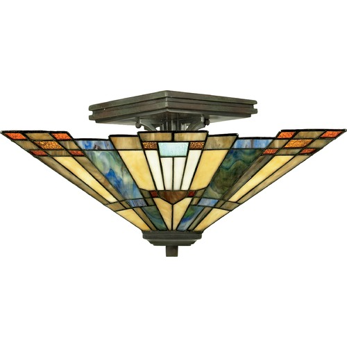 Quoizel Lighting Tiffany Semi-Flushmount Light in Valiant Bronze Finish TFIK1714VA