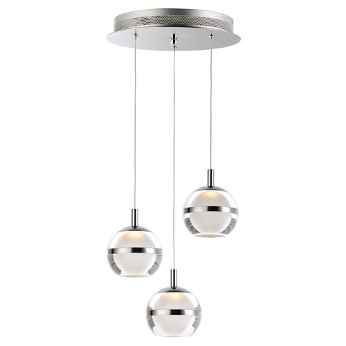 ET2 Lighting ET2 Swank Polished Chrome LED Multi-Light Pendant with Globe Shade E24593-93PC
