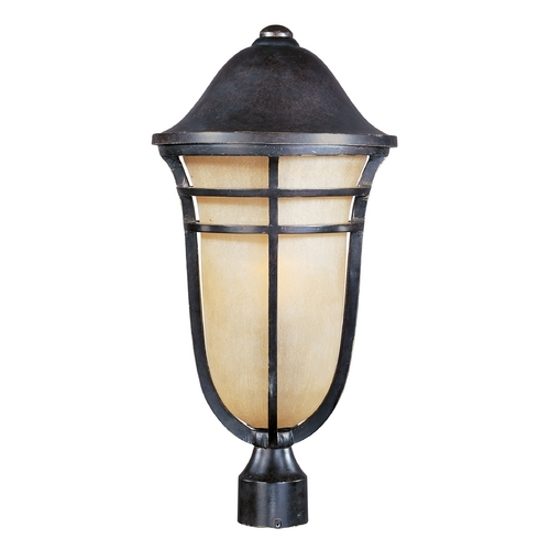 Maxim Lighting Post Light with Beige / Cream Glass in Artesian Bronze Finish 40100MCAT