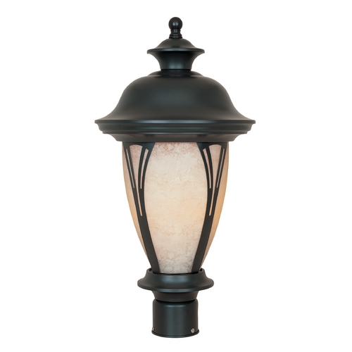 Designers Fountain Lighting Post Light with Amber Glass in Bronze Finish 30536-AM-BZ