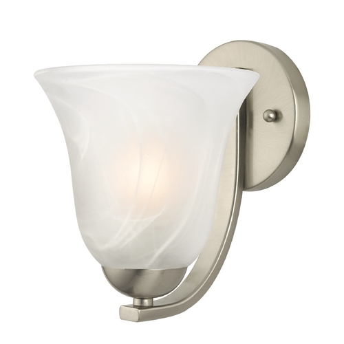 Design Classics Lighting Sconce with Alabaster Glass in Satin Nickel Finish 585-09 GL9222-ALB
