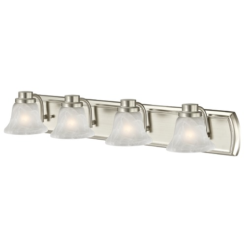 Design Classics Lighting Alabaster Glass 4-Light Bathroom Light in Satin Nickel 1204-09 GL1032-ALB