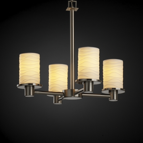 Justice Design Group Justice Design Group Limoges Collection Mini-Chandelier POR-8510-10-WAVE-NCKL