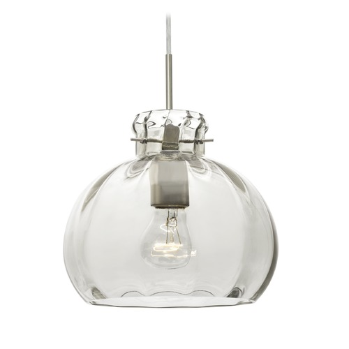 Besa Lighting Besa Lighting Pinta Satin Nickel Pendant Light with Bowl / Dome Shade 1JT-464488-SN