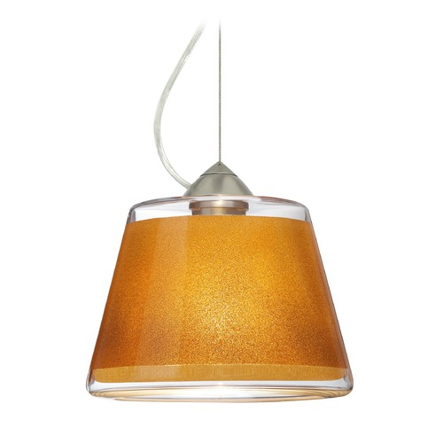 Besa Lighting Besa Lighting Pica Satin Nickel LED Pendant Light with Empire Shade 1KX-PIC9GD-LED-SN