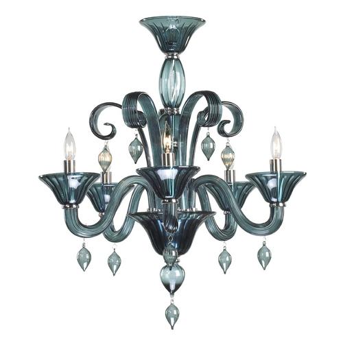 Cyan Design Cyan Design Treviso Chrome with Indigo Smoke Chandelier 6495-5-14